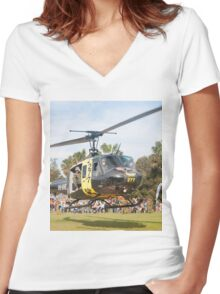 Huey Eagle One Helicopter Women's Fitted V-Neck T-Shirt
