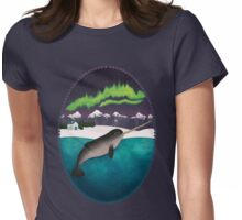 Narwhal under The Northern Lights Womens Fitted T-Shirt
