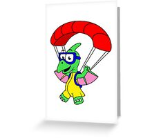 Illustration of a pterodactyl parachuting. Greeting Card
