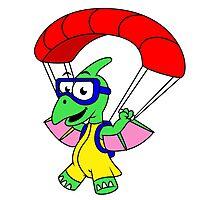 Illustration of a pterodactyl parachuting. Photographic Print