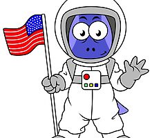 Illustration of a Parasaurolophus astronaut holding American Flag. by StocktrekImages