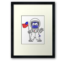 Illustration of a Parasaurolophus astronaut holding American Flag. Framed Print