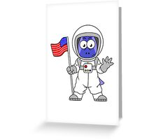 Illustration of a Parasaurolophus astronaut holding American Flag. Greeting Card