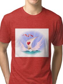 Greeting card with a toy boat Tri-blend T-Shirt