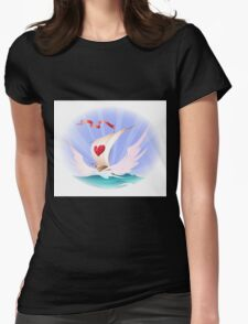 Greeting card with a toy boat Womens Fitted T-Shirt