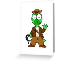 Illustration of Parasaurolophus dressed as Indiana Jones. Greeting Card