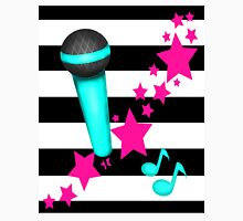 Rockstar Teal and Pink Microphone on Stripes Unisex T-Shirt