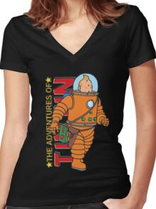 tintin adventures Women's Fitted V-Neck T-Shirt