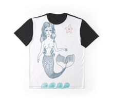 fairy Mermaid with long curly hair.  Graphic T-Shirt