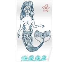 fairy Mermaid with long curly hair.  Poster