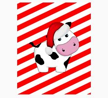 Christmas Cow in Santa Hat on Stripes Unisex T-Shirt