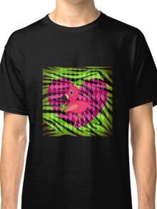 Pink Flamingo on Green Zebra Stripes Classic T-Shirt