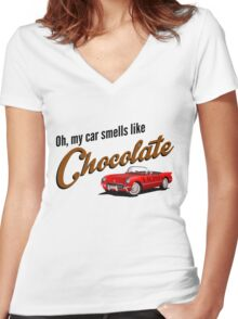Oh, my car smells like Chocolate Women's Fitted V-Neck T-Shirt