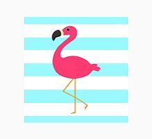 Pink Flamingo on Stripes Unisex T-Shirt
