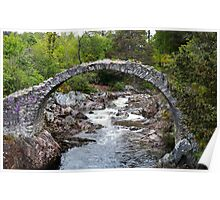 Packhorse Bridge covered in pink flowers at Carrbridge, Highlands, Scotland, Poster