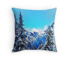Blue Mountain Scene Throw Pillow