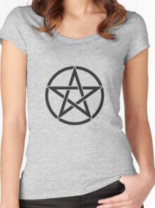 Black Pentagram Women's Fitted Scoop T-Shirt