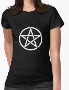 White Pentagram Womens Fitted T-Shirt