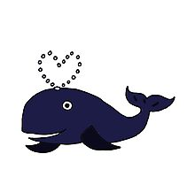 Cool Funny Blue Whale Spouting Heart Water Photographic Print