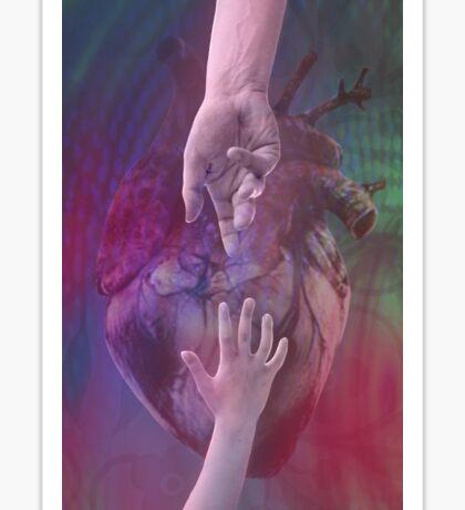 Heart & Hands Reaching Sticker