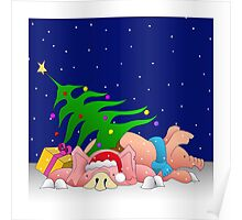 Pigs with tree waiting for Christmas for throw pillows Poster