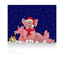 Christmas pigs for throw pillows Photographic Print