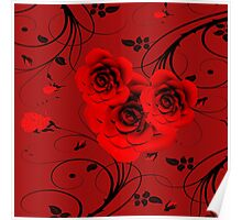 Rote Rosen - red roses Poster