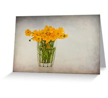 A glass filled with buttercups Greeting Card