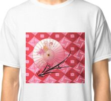 Asian style with umbrella and cherry twig Classic T-Shirt