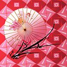 Asian style with umbrella and cherry twig by harietteh