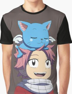 Fairy Tail - Happy and Natsu Cute Graphic T-Shirt