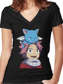 Fairy Tail - Happy and Natsu Cute Women's Fitted V-Neck T-Shirt