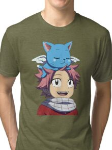 Fairy Tail - Happy and Natsu Cute Tri-blend T-Shirt