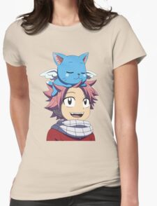 Fairy Tail - Happy and Natsu Cute Womens Fitted T-Shirt