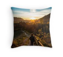 walking down to the sunset Throw Pillow