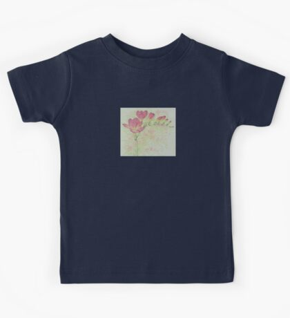 Red Freesia Flower Sprig in Coloured Pencil Kids Tee