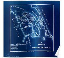 Civil War Maps 1625 Sketch of Roanoke Island NC February 8 1862 Inverted Poster