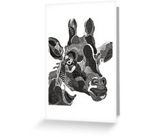 back and white giraffe street art Greeting Card