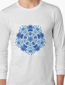 Decorative Gzhel Round Ornament Long Sleeve T-Shirt