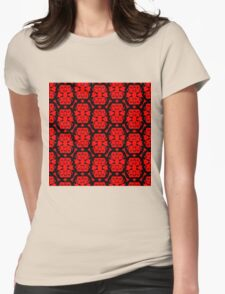 Audrey Black Red Pattern Womens Fitted T-Shirt