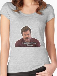 Ron Swanson- I Regret Nothing Women's Fitted Scoop T-Shirt