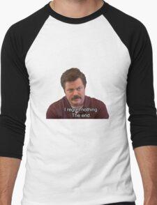 Ron Swanson- I Regret Nothing Men's Baseball ¾ T-Shirt