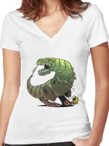 Robot T-rex Women's Fitted V-Neck T-Shirt