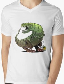 Robot T-rex Mens V-Neck T-Shirt