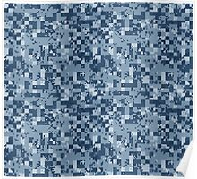 Cube Camo - Blue Poster