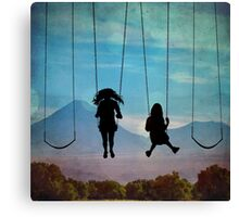 Friends on a Swingset Canvas Print