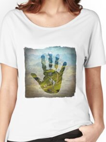 Earth Hand Print Women's Relaxed Fit T-Shirt