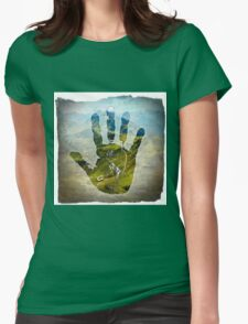 Earth Hand Print Womens Fitted T-Shirt