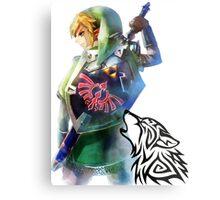 Zelda Link with Wolf Metal Print