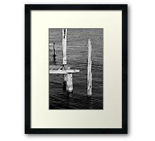 Old Dock Remains BW Framed Print